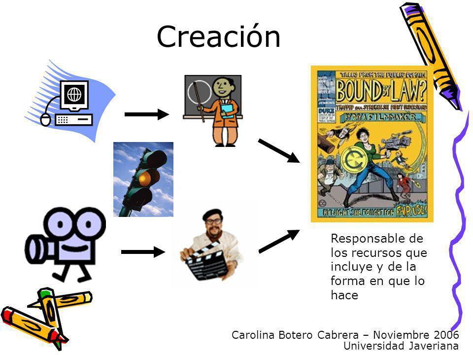 Carolina Botero Cabrera – Noviembre 2006 Universidad Javeriana Responsable de los recursos que incluye y de la forma en que lo hace Creación