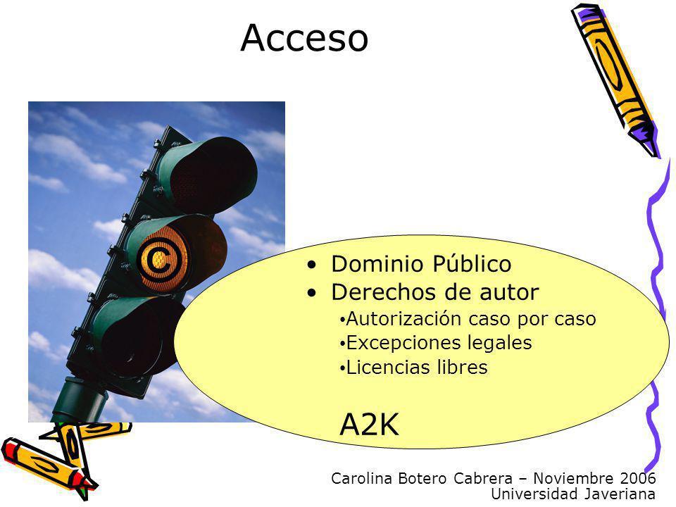 Carolina Botero Cabrera – Noviembre 2006 Universidad Javeriana Acceso © Dominio Público Derechos de autor Autorización caso por caso Excepciones legales Licencias libres A2K
