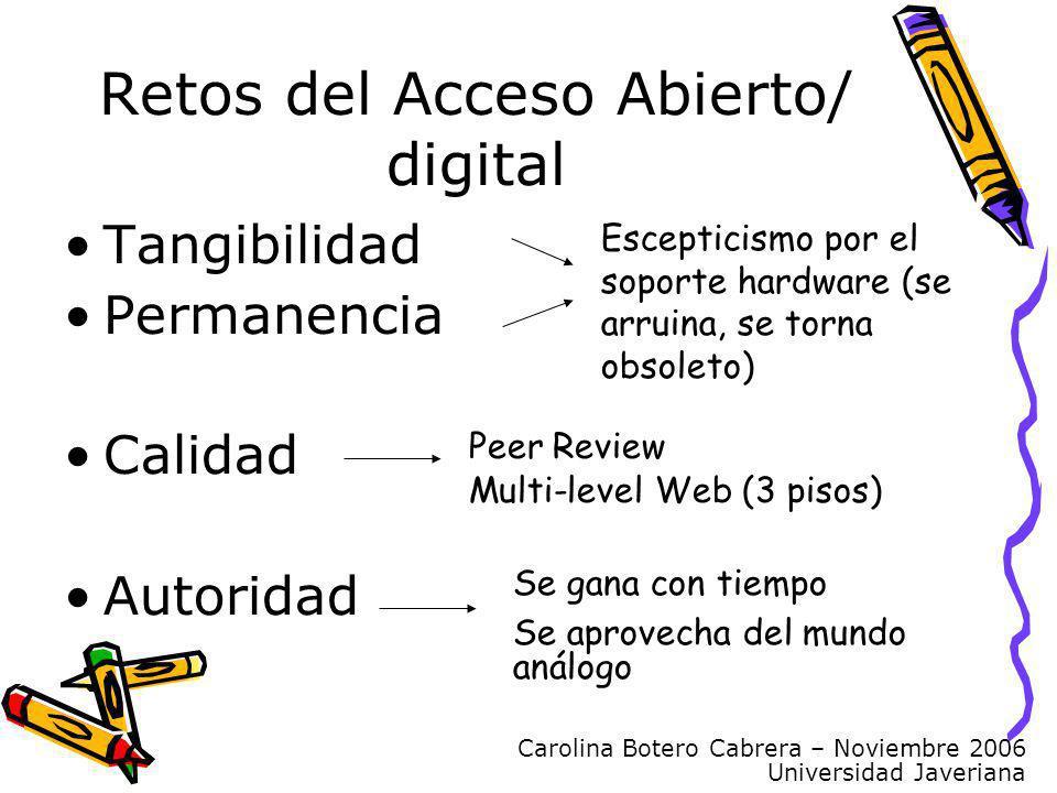 Carolina Botero Cabrera – Noviembre 2006 Universidad Javeriana Retos del Acceso Abierto/ digital Tangibilidad Permanencia Calidad Autoridad Escepticis