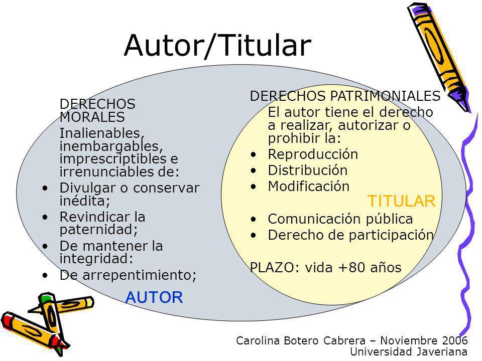 Carolina Botero Cabrera – Noviembre 2006 Universidad Javeriana Autor/Titular DERECHOS MORALES Inalienables, inembargables, imprescriptibles e irrenunc