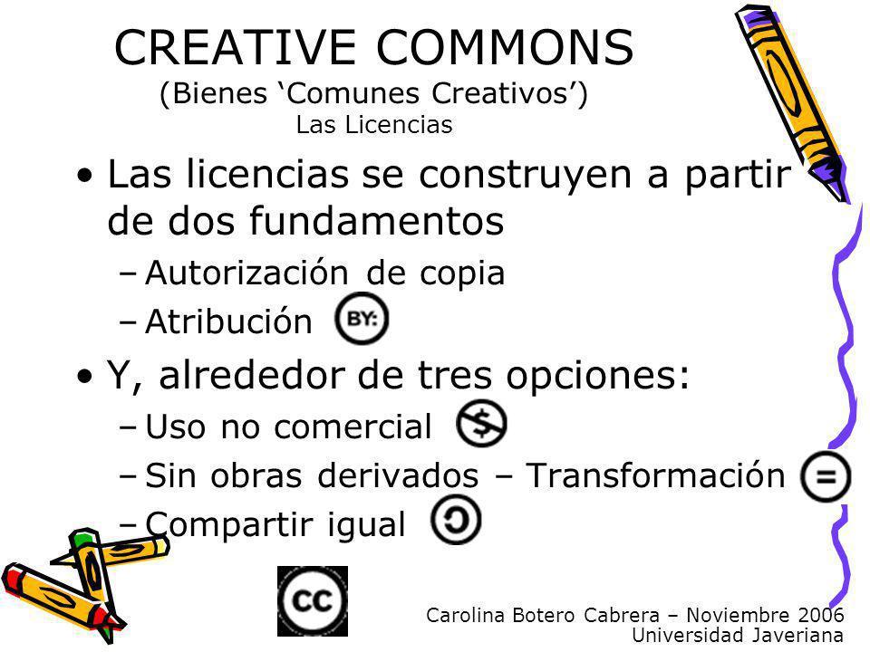 Carolina Botero Cabrera – Noviembre 2006 Universidad Javeriana Las licencias se construyen a partir de dos fundamentos –Autorización de copia –Atribuc