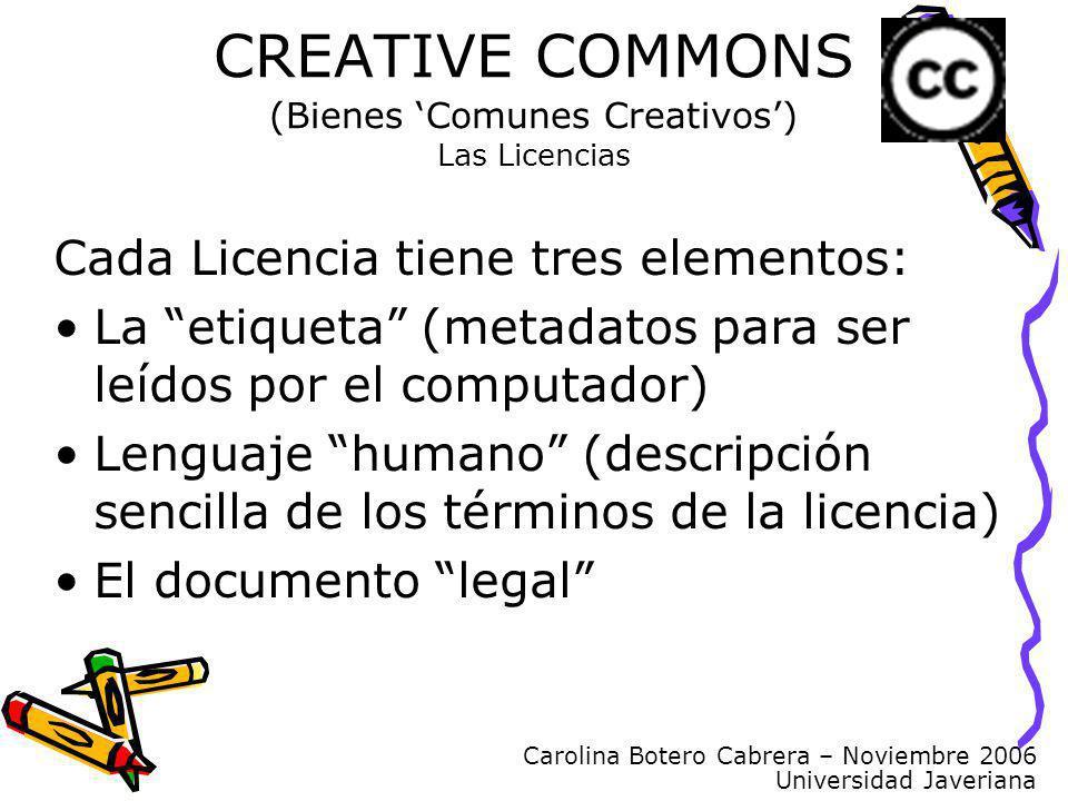 Carolina Botero Cabrera – Noviembre 2006 Universidad Javeriana CREATIVE COMMONS (Bienes Comunes Creativos) Las Licencias Cada Licencia tiene tres elem