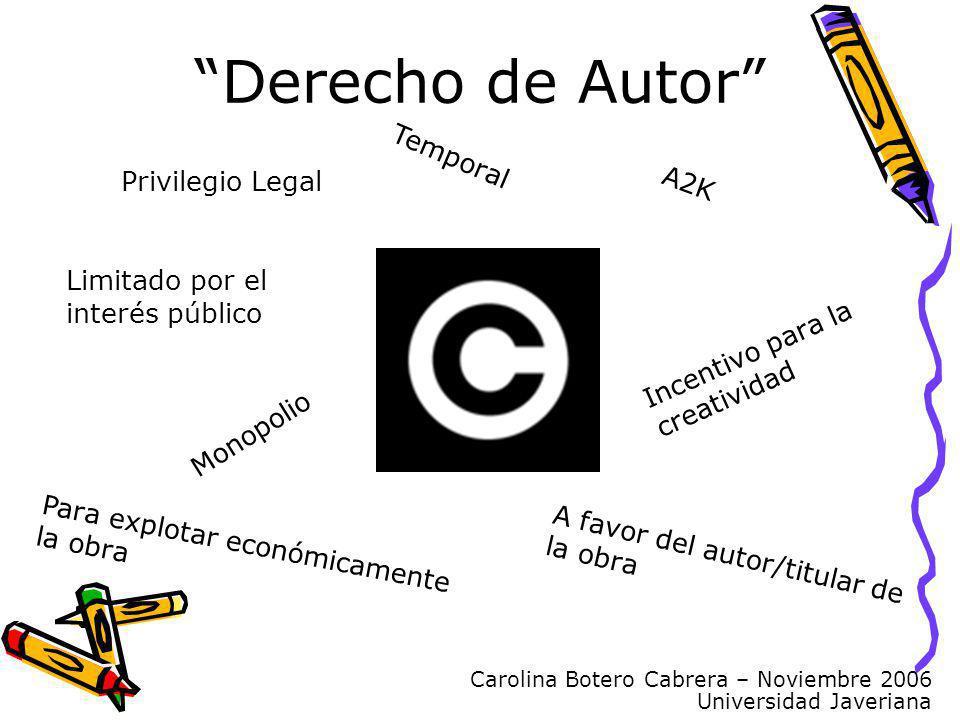 Carolina Botero Cabrera – Noviembre 2006 Universidad Javeriana Derecho de Autor Privilegio Legal Monopolio Temporal A favor del autor/titular de la ob