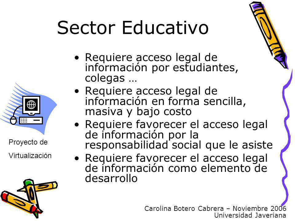 Carolina Botero Cabrera – Noviembre 2006 Universidad Javeriana Sector Educativo Proyecto de Virtualización Requiere acceso legal de información por es