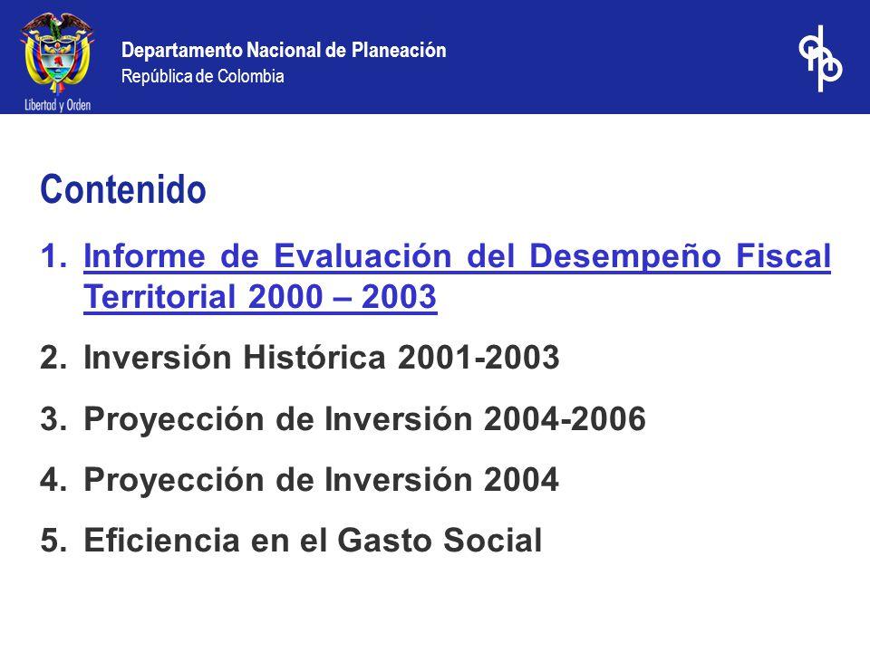 Departamento Nacional de Planeación República de Colombia 1.Informe de Evaluación del Desempeño Fiscal Territorial 2000 – 2003 2.Inversión Histórica 2001-2003 3.Proyección de Inversión 2004-2006 4.Proyección de Inversión 2004 5.Eficiencia en el Gasto Social Contenido