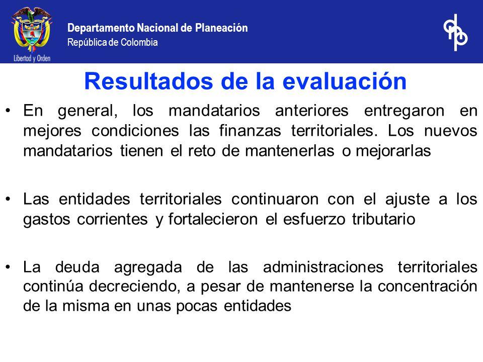 Departamento Nacional de Planeación República de Colombia En general, los mandatarios anteriores entregaron en mejores condiciones las finanzas territoriales.