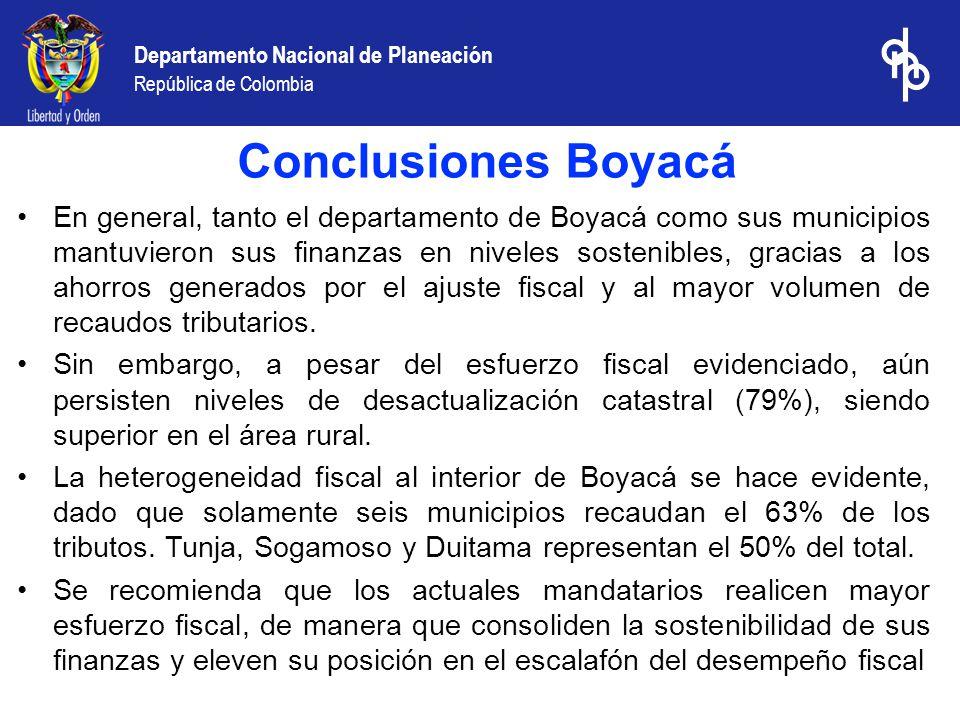 Departamento Nacional de Planeación República de Colombia En general, tanto el departamento de Boyacá como sus municipios mantuvieron sus finanzas en niveles sostenibles, gracias a los ahorros generados por el ajuste fiscal y al mayor volumen de recaudos tributarios.