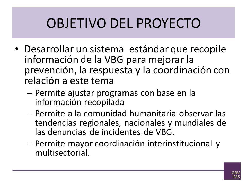 OBJETIVO DEL PROYECTO Desarrollar un sistema estándar que recopile información de la VBG para mejorar la prevención, la respuesta y la coordinación con relación a este tema – Permite ajustar programas con base en la información recopilada – Permite a la comunidad humanitaria observar las tendencias regionales, nacionales y mundiales de las denuncias de incidentes de VBG.