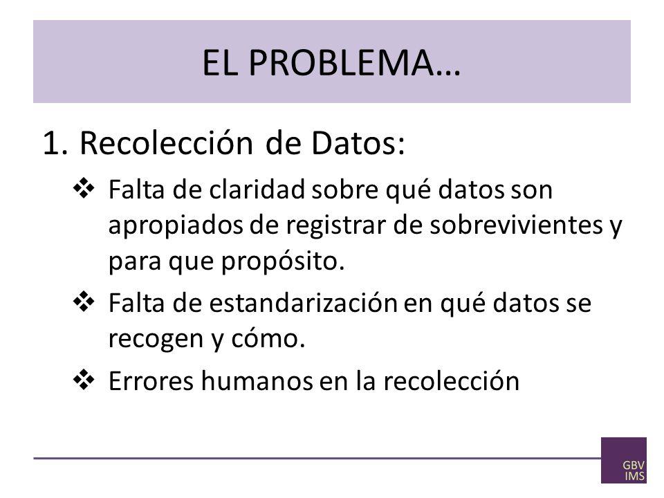 EL PROBLEMA… 1.Recolección de Datos: Falta de claridad sobre qué datos son apropiados de registrar de sobrevivientes y para que propósito.