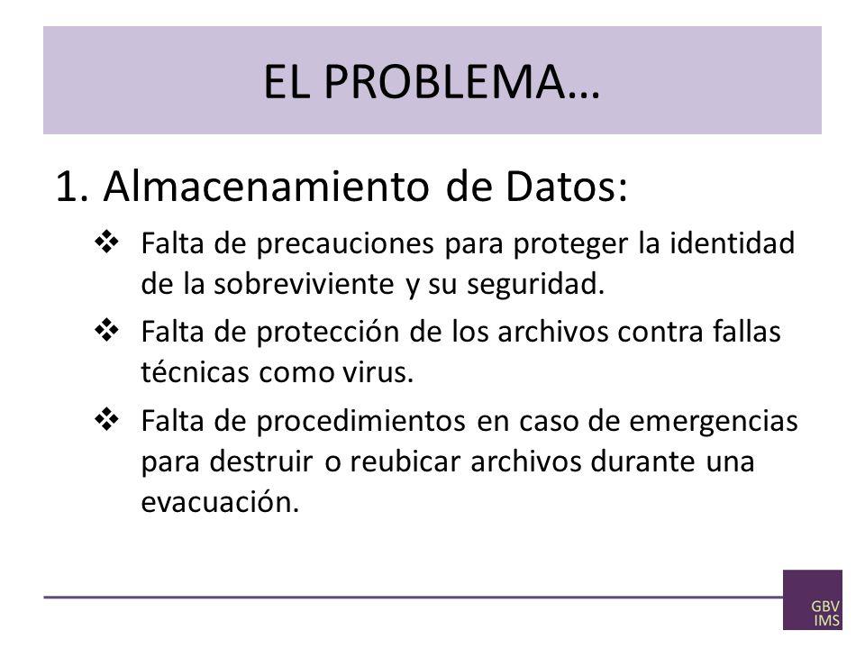 EL PROBLEMA… 1.Almacenamiento de Datos: Falta de precauciones para proteger la identidad de la sobreviviente y su seguridad.