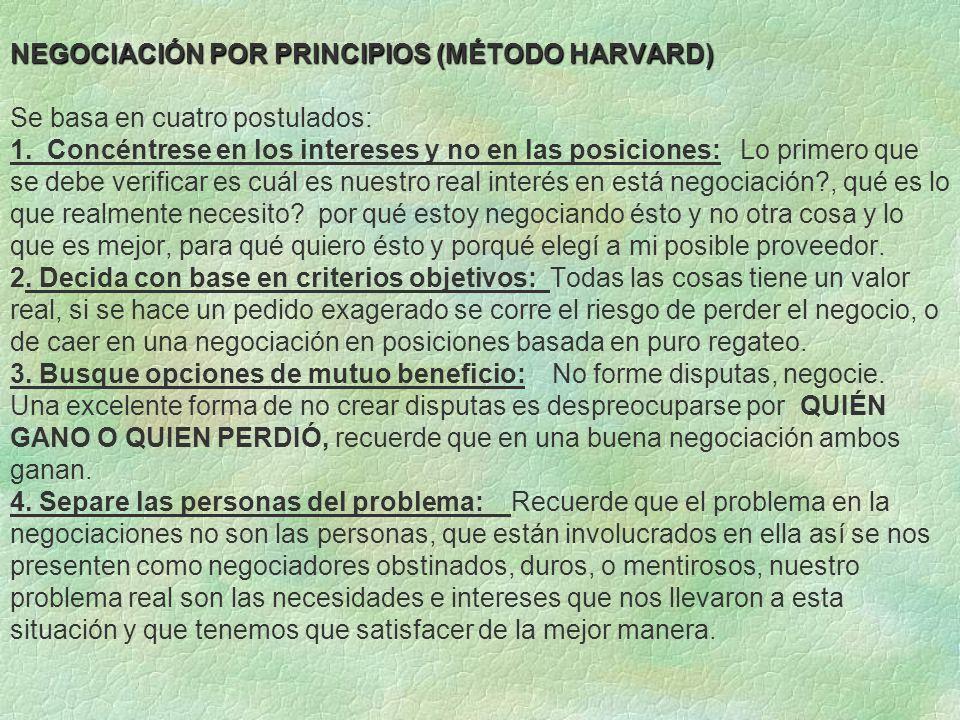 NEGOCIACIÓN POR PRINCIPIOS (MÉTODO HARVARD) NEGOCIACIÓN POR PRINCIPIOS (MÉTODO HARVARD) Se basa en cuatro postulados: 1. Concéntrese en los intereses