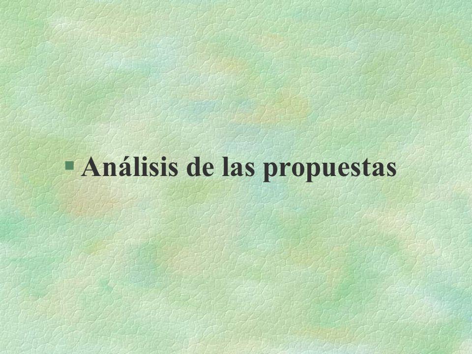 §Análisis de las propuestas