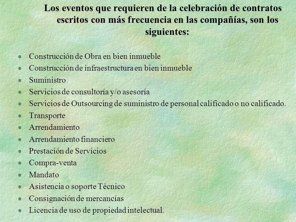 Los eventos que requieren de la celebración de contratos escritos con más frecuencia en las compañías, son los siguientes: Construcción de Obra en bie