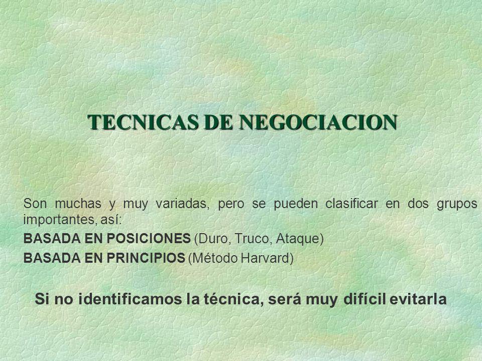 TECNICAS DE NEGOCIACION TECNICAS DE NEGOCIACION Son muchas y muy variadas, pero se pueden clasificar en dos grupos importantes, así: BASADA EN POSICIO