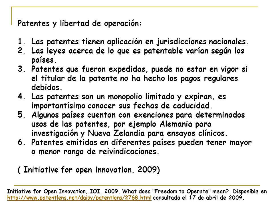 Patentes y libertad de operación: 1.Las patentes tienen aplicación en jurisdicciones nacionales. 2.Las leyes acerca de lo que es patentable varían seg