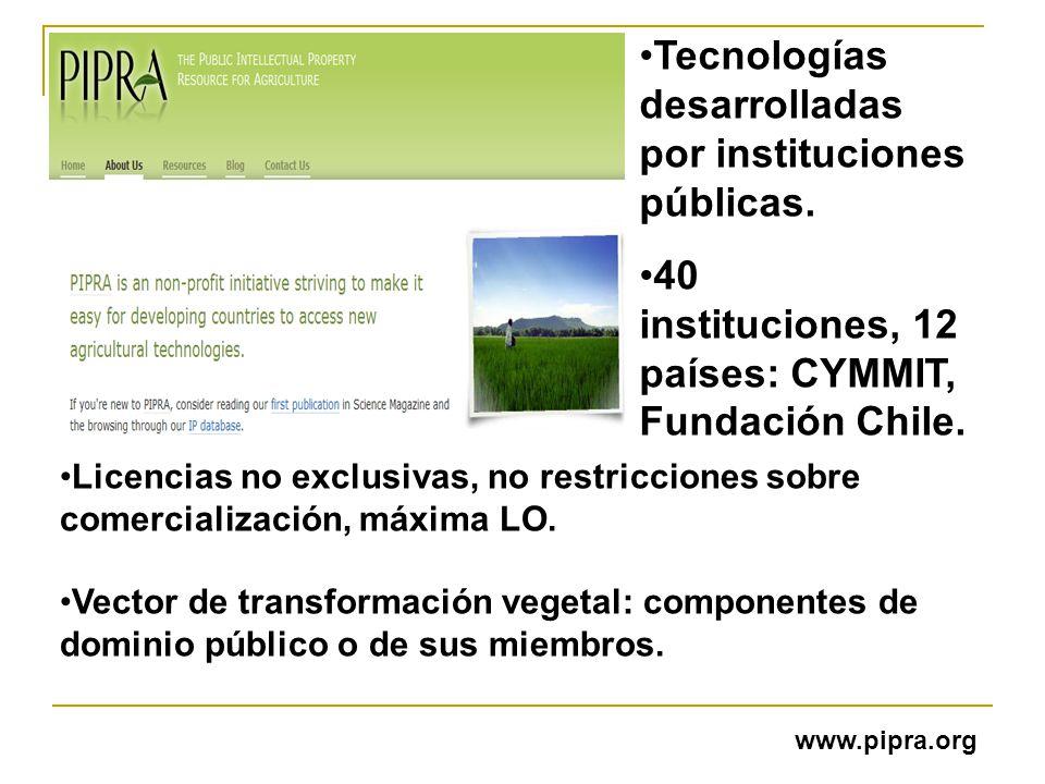 Tecnologías desarrolladas por instituciones públicas. 40 instituciones, 12 países: CYMMIT, Fundación Chile. Licencias no exclusivas, no restricciones
