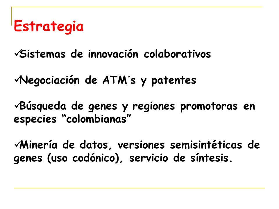 Estrategia Sistemas de innovación colaborativos Negociación de ATM´s y patentes Búsqueda de genes y regiones promotoras en especies colombianas Minería de datos, versiones semisintéticas de genes (uso codónico), servicio de síntesis.