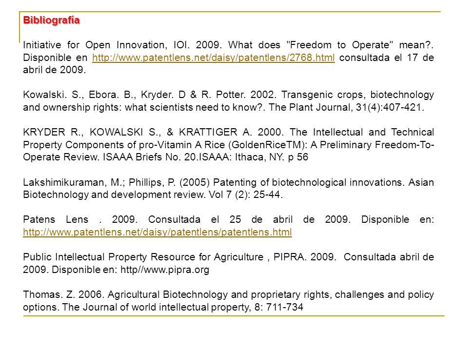 Bibliografía Initiative for Open Innovation, IOI.2009.