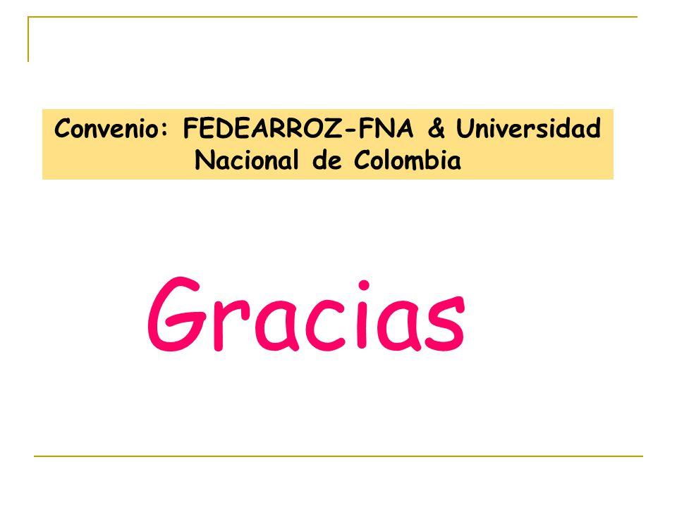 Gracias Convenio: FEDEARROZ-FNA & Universidad Nacional de Colombia