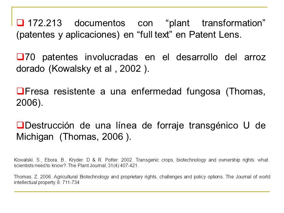 172.213 documentos con plant transformation (patentes y aplicaciones) en full text en Patent Lens. 70 patentes involucradas en el desarrollo del arroz