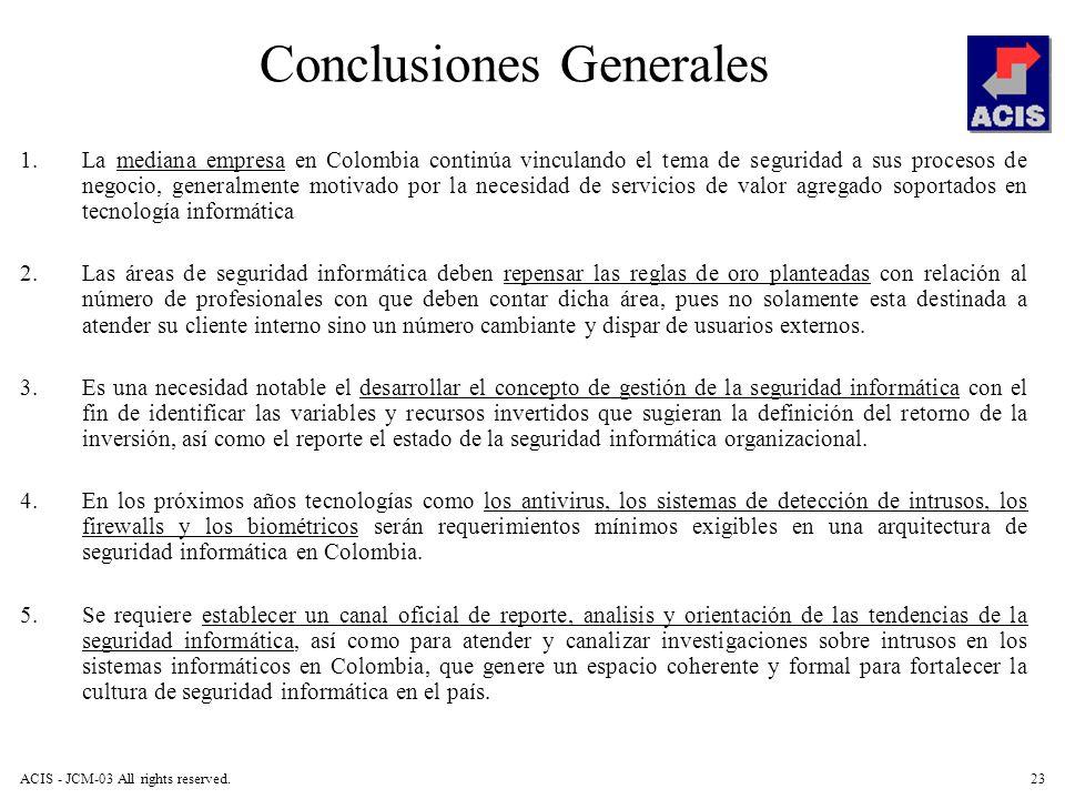 ACIS - JCM-03 All rights reserved.23 Conclusiones Generales 1.La mediana empresa en Colombia continúa vinculando el tema de seguridad a sus procesos d