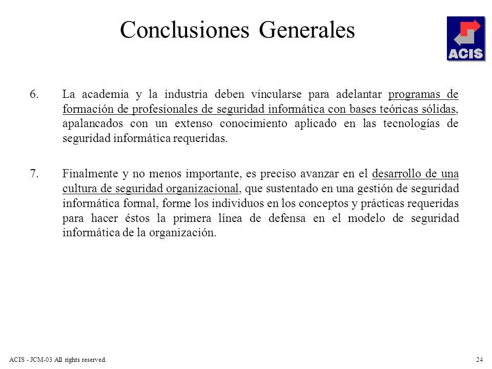 ACIS - JCM-03 All rights reserved.24 Conclusiones Generales 6.La academia y la industria deben vincularse para adelantar programas de formación de pro