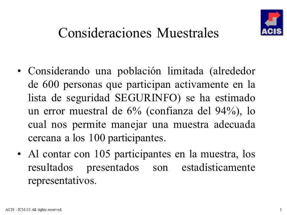 ACIS - JCM-03 All rights reserved.3 Consideraciones Muestrales Considerando una población limitada (alrededor de 600 personas que participan activamen