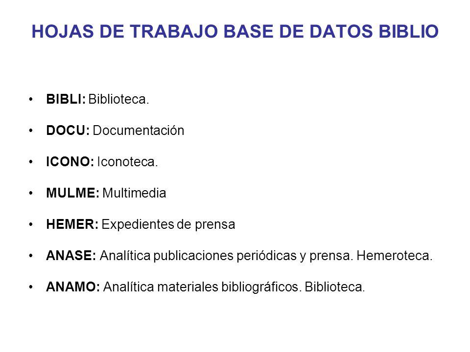 HOJAS DE TRABAJO BASE DE DATOS BIBLIO BIBLI: Biblioteca. DOCU: Documentación ICONO: Iconoteca. MULME: Multimedia HEMER: Expedientes de prensa ANASE: A