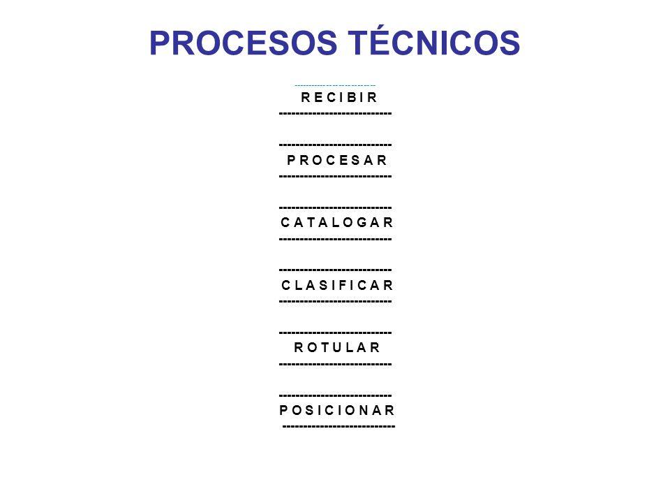 PROCESOS TÉCNICOS --------------------------- R E C I B I R --------------------------- P R O C E S A R --------------------------- C A T A L O G A R