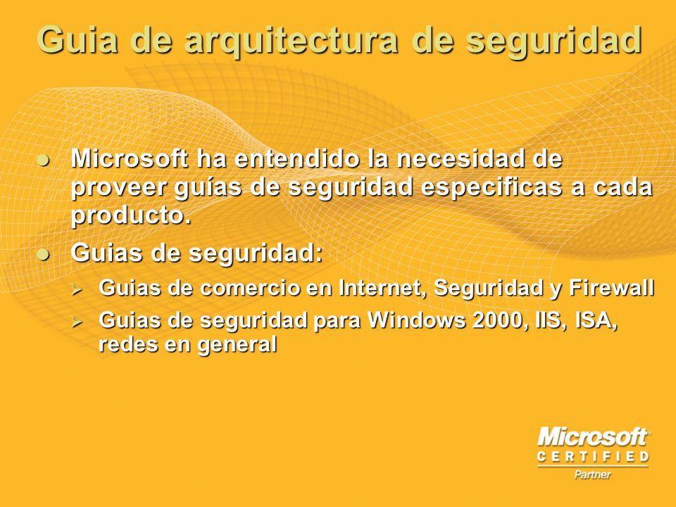 Guia de arquitectura de seguridad Microsoft ha entendido la necesidad de proveer guías de seguridad especificas a cada producto. Microsoft ha entendid