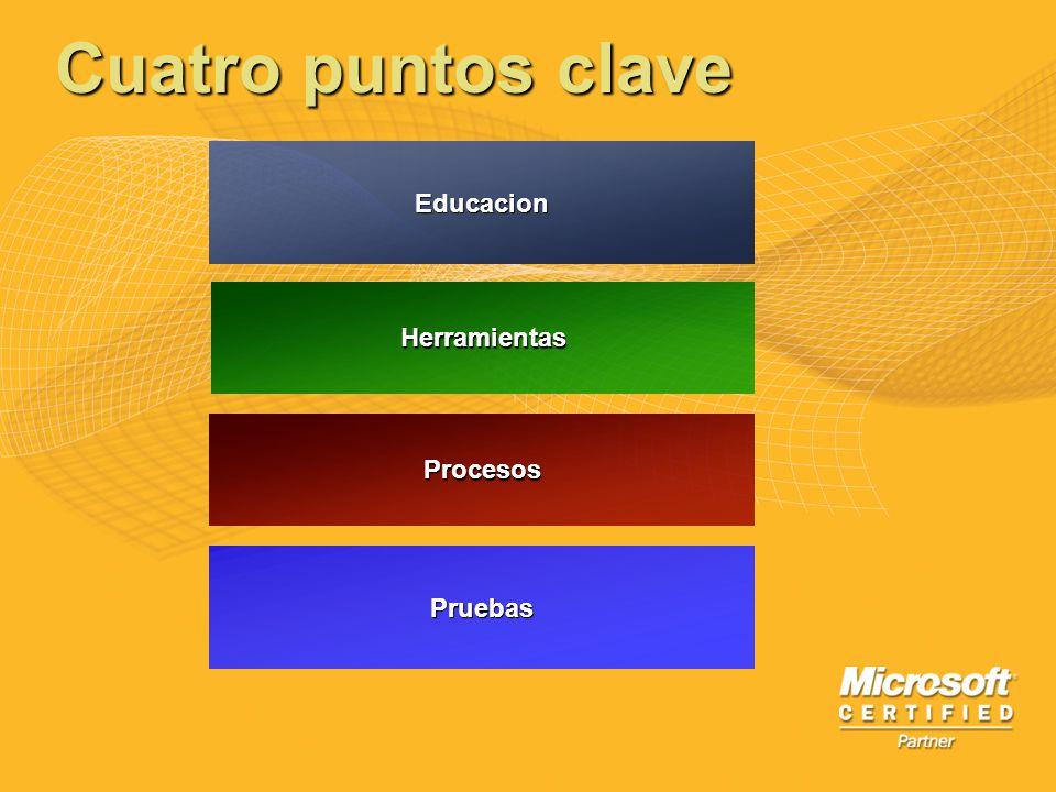 Cuatro puntos clave Educacion Herramientas Procesos Pruebas