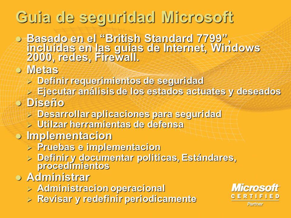 Guia de seguridad Microsoft Basado en el British Standard 7799, incluidas en las guias de Internet, Windows 2000, redes, Firewall. Basado en el Britis