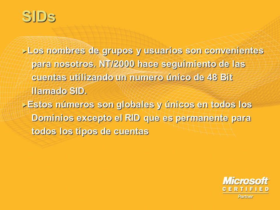 SIDs Los nombres de grupos y usuarios son convenientes Los nombres de grupos y usuarios son convenientes para nosotros. NT/2000 hace seguimiento de la