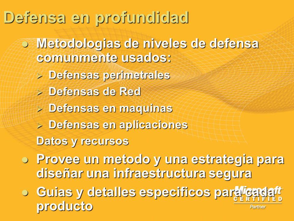 Metodologias de niveles de defensa comunmente usados: Metodologias de niveles de defensa comunmente usados: Defensas perimetrales Defensas perimetrale