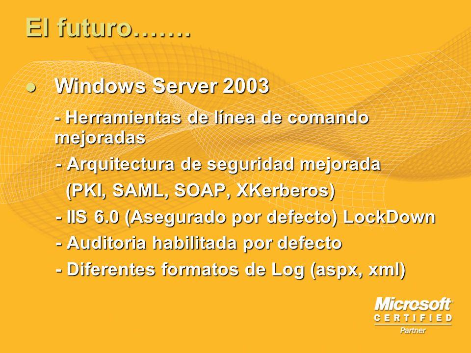 El futuro……. Windows Server 2003 Windows Server 2003 - Herramientas de línea de comando mejoradas - Herramientas de línea de comando mejoradas - Arqui