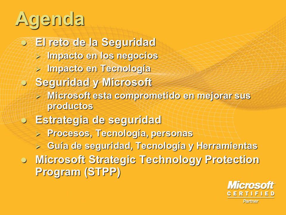 Agenda El reto de la Seguridad El reto de la Seguridad Impacto en los negocios Impacto en los negocios Impacto en Tecnología Impacto en Tecnología Seg