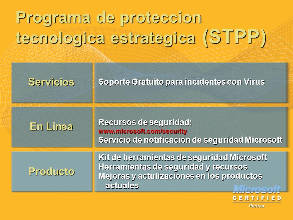Servicios En Linea Producto Soporte Gratuito para incidentes con Virus Recursos de seguridad: www.microsoft.com/security Servicio de notificacion de s