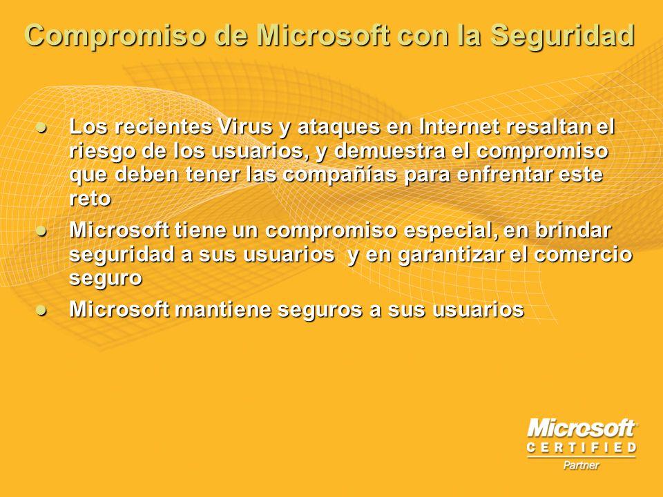 Compromiso de Microsoft con la Seguridad Los recientes Virus y ataques en Internet resaltan el riesgo de los usuarios, y demuestra el compromiso que d