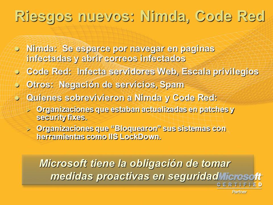 Riesgos nuevos: Nimda, Code Red Nimda: Se esparce por navegar en paginas infectadas y abrir correos infectados Nimda: Se esparce por navegar en pagina