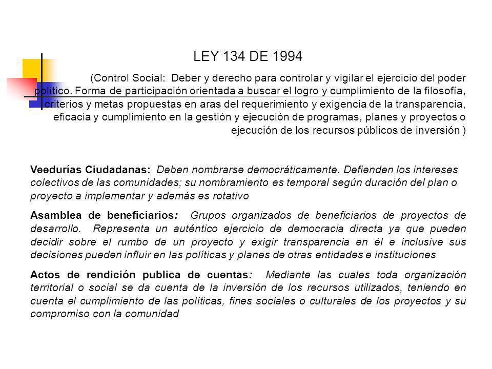 LEY 134 DE 1994 (Control Social: Deber y derecho para controlar y vigilar el ejercicio del poder político.