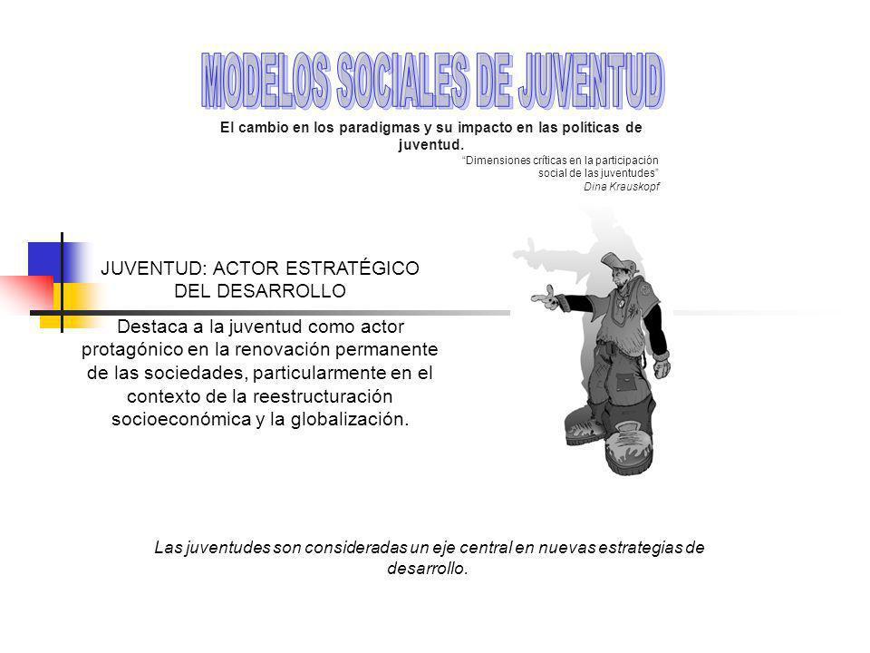 JUVENTUD: ACTOR ESTRATÉGICO DEL DESARROLLO Destaca a la juventud como actor protagónico en la renovación permanente de las sociedades, particularmente en el contexto de la reestructuración socioeconómica y la globalización.