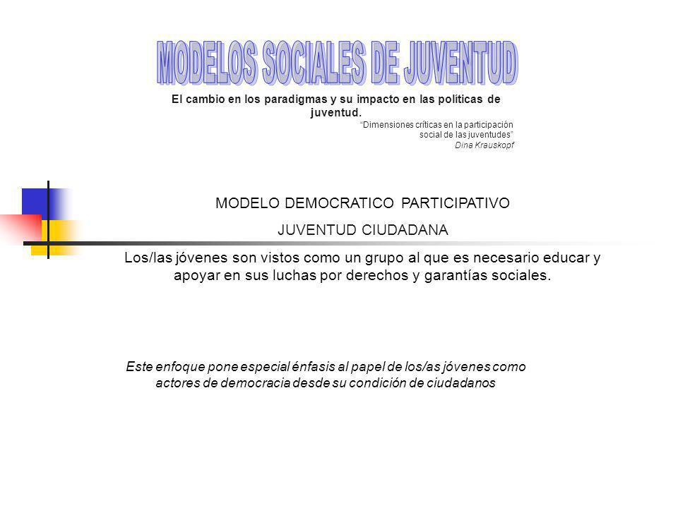 MODELO DEMOCRATICO PARTICIPATIVO JUVENTUD CIUDADANA Los/las jóvenes son vistos como un grupo al que es necesario educar y apoyar en sus luchas por derechos y garantías sociales.