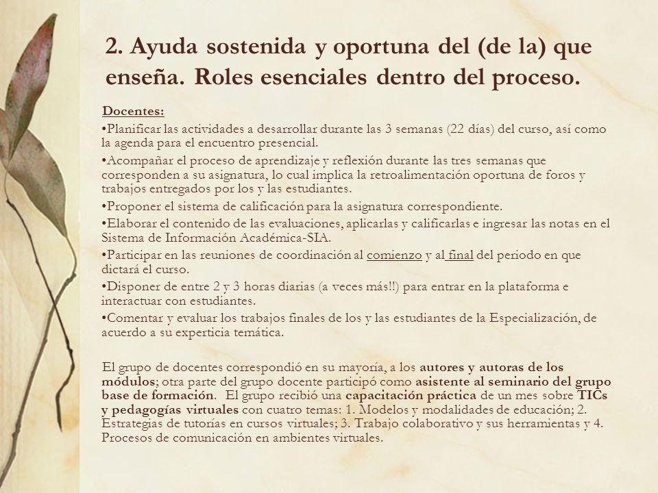 2. Ayuda sostenida y oportuna del (de la) que enseña. Roles esenciales dentro del proceso. Docentes: Planificar las actividades a desarrollar durante