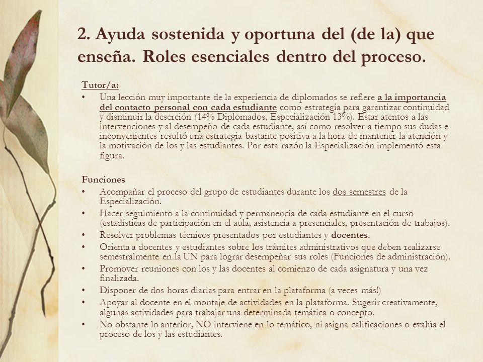 2. Ayuda sostenida y oportuna del (de la) que enseña. Roles esenciales dentro del proceso. Tutor/a: Una lección muy importante de la experiencia de di