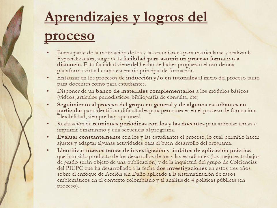 Aprendizajes y logros del proceso Buena parte de la motivación de los y las estudiantes para matricularse y realizar la Especialización, surge de la f