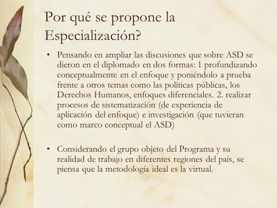 Por qué se propone la Especialización? Pensando en ampliar las discusiones que sobre ASD se dieron en el diplomado en dos formas: 1 profundizando conc