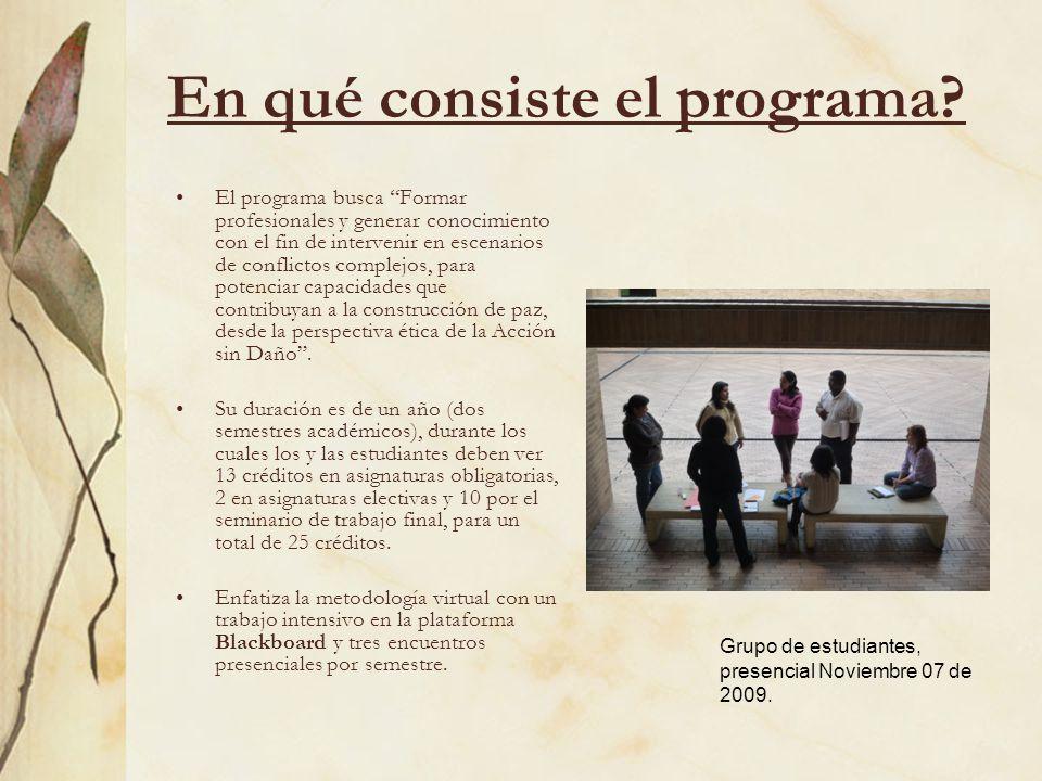 En qué consiste el programa? El programa busca Formar profesionales y generar conocimiento con el fin de intervenir en escenarios de conflictos comple