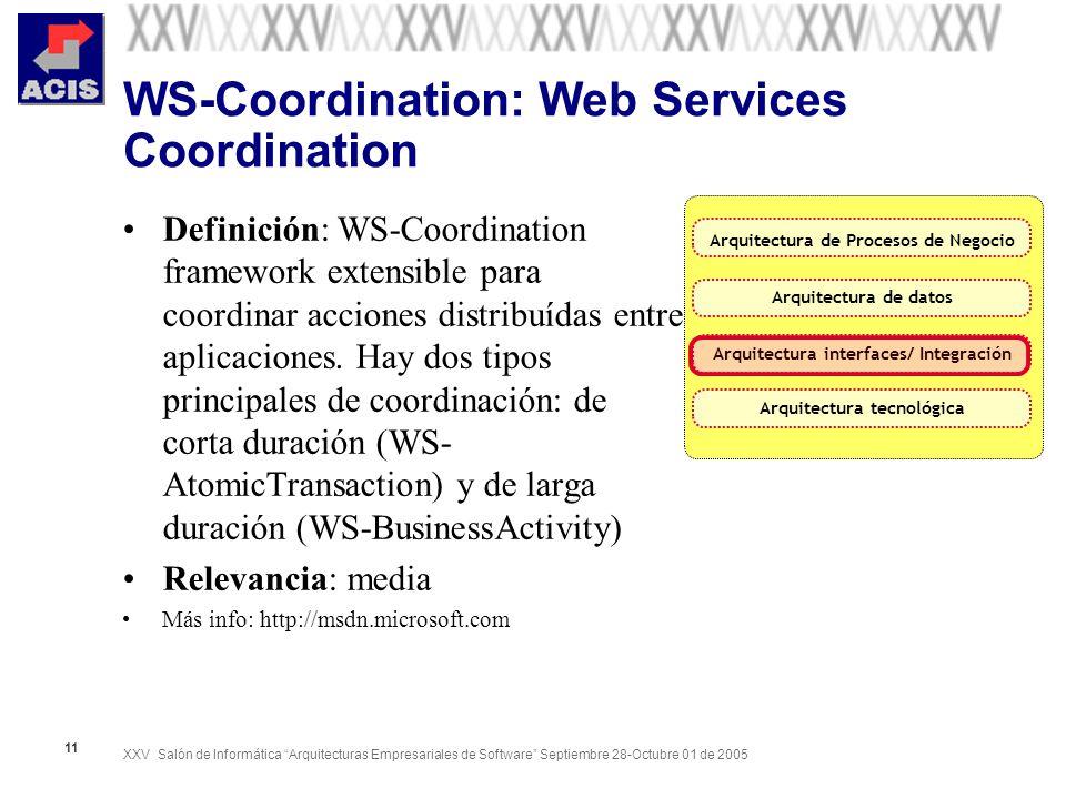 XXV Salón de Informática Arquitecturas Empresariales de Software Septiembre 28-Octubre 01 de 2005 11 WS-Coordination: Web Services Coordination Defini