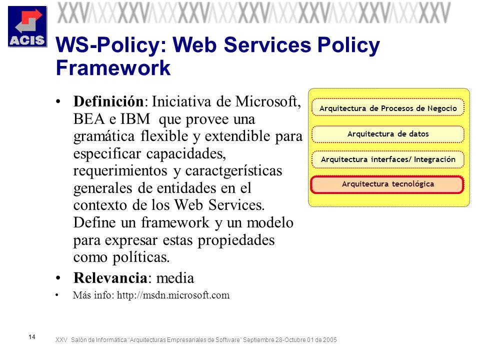 XXV Salón de Informática Arquitecturas Empresariales de Software Septiembre 28-Octubre 01 de 2005 14 WS-Policy: Web Services Policy Framework Definici