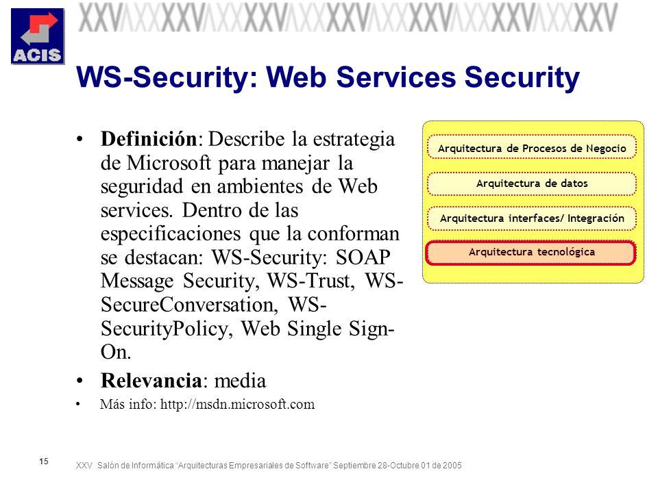 XXV Salón de Informática Arquitecturas Empresariales de Software Septiembre 28-Octubre 01 de 2005 15 WS-Security: Web Services Security Definición: De